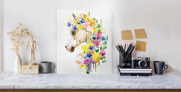 Canvastavla med hästens huvud i blommor