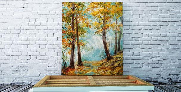 Canvastavla med höstträd