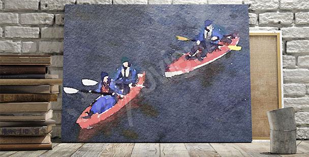Canvastavla med kanoter