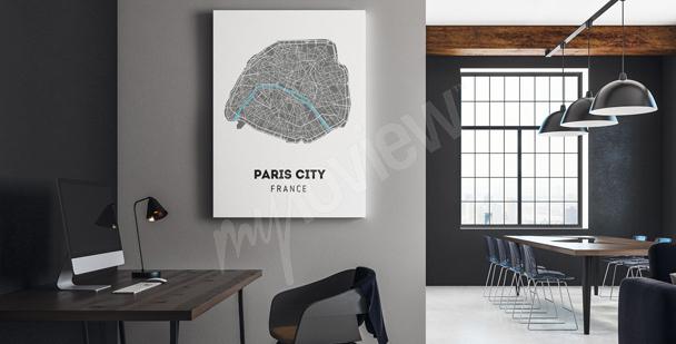 Canvastavla med karta över staden
