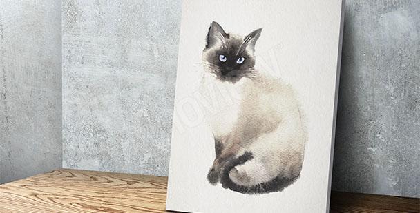 Canvastavla med katt målning