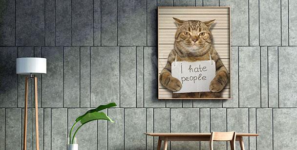 Canvastavla med katt till tonårsrummet