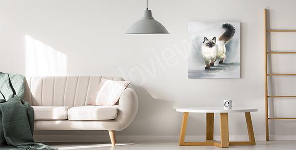 Canvastavla med katt till vardagsrummet