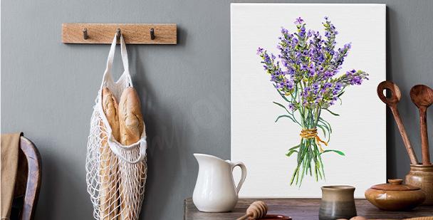 Canvastavla med lavendel i akvarell