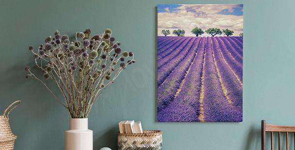 Canvastavla med lavendel och träd
