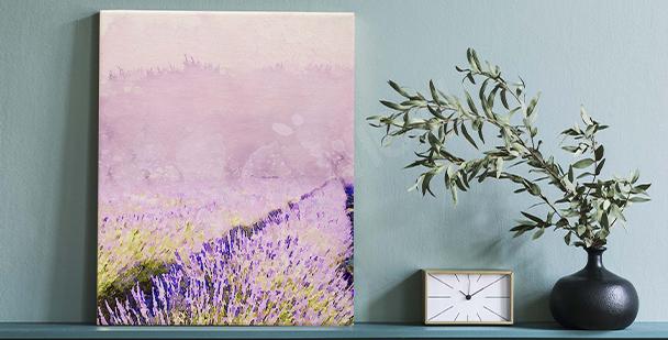 Canvastavla med målade blommor
