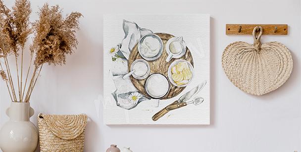 Canvastavla med maträtter i lantlig stil