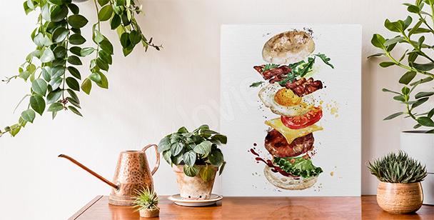 Canvastavla med maträtter och hamburgare