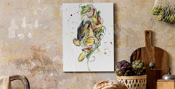 Canvastavla med maträtter och moules