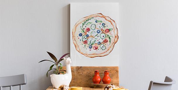 Canvastavla med maträtter och pizza
