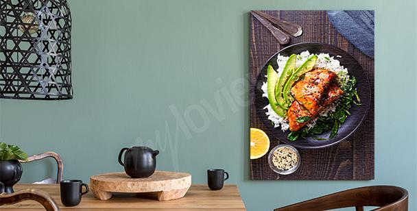 Canvastavla med middag på en tallrik