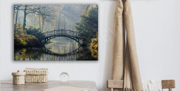 Canvastavla med parkmed bro