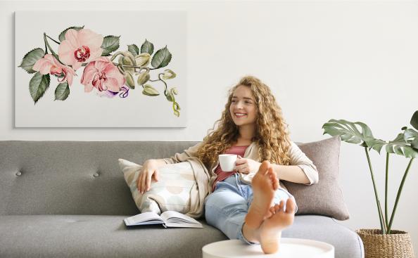 Canvastavla med rosa orkidé
