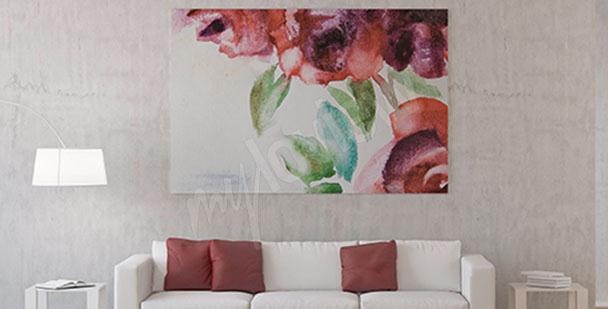 Canvastavla med rosblommor akvarell
