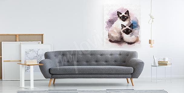 Canvastavla med siamesiska katter