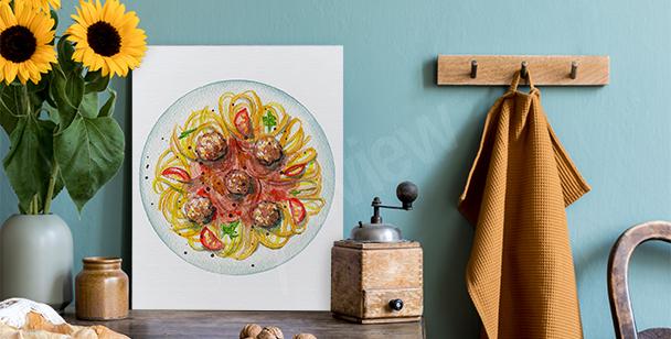 Canvastavla med spaghetti