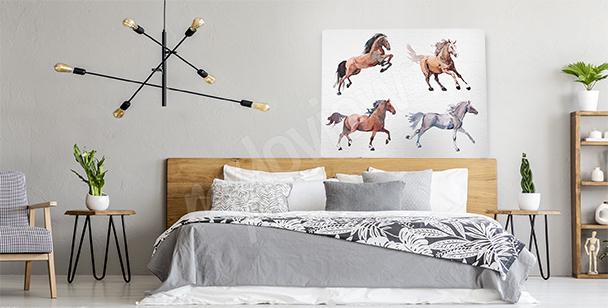 Canvastavla med springande hästar