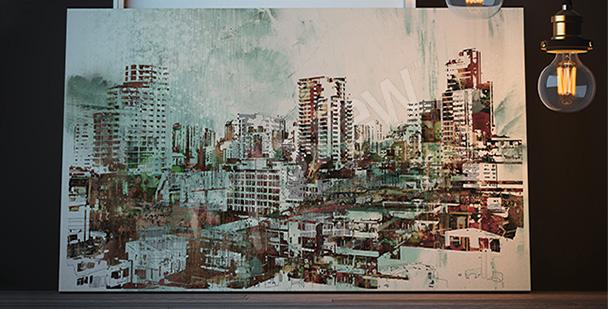 Canvastavla med stadslandskap