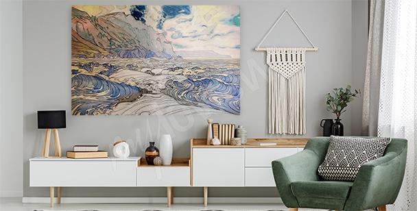 Canvastavla pastell med hav