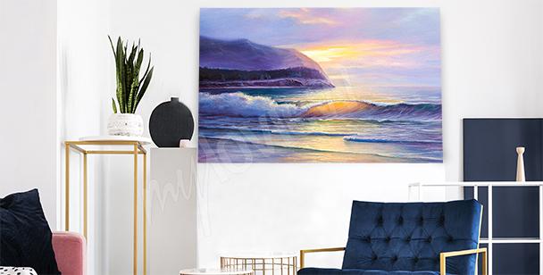 Canvastavla strand vid solnedgång