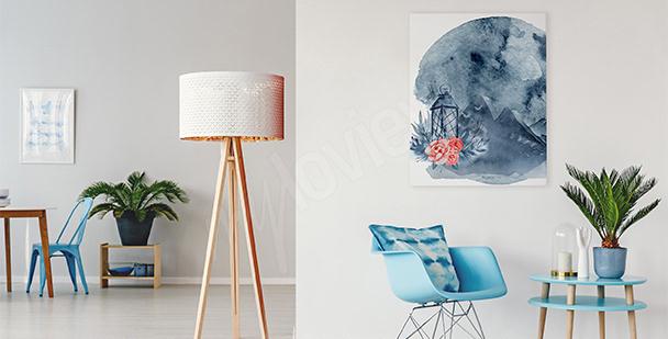 Canvastavla till vardagsrummet månen