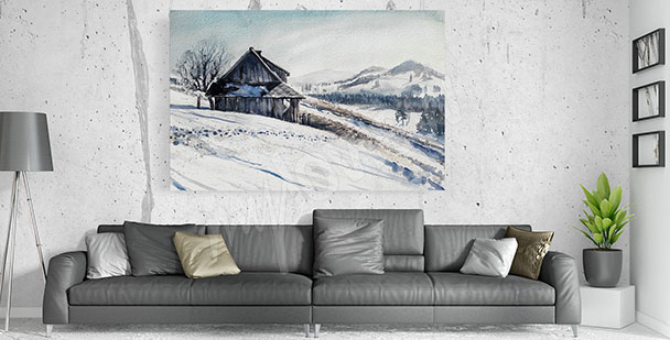 Canvastavla till vardagsrummet vinter