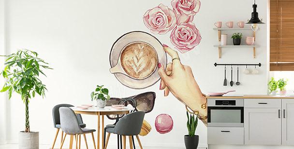 Dekal med kaffe och rosor