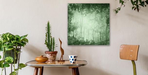 En canvastavla med en grön lund