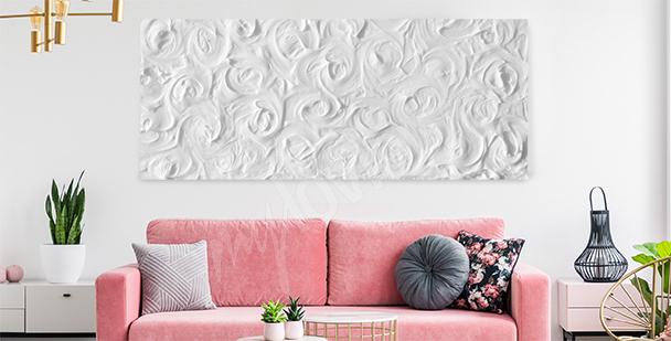 En delikat canvastavla av vita rosor