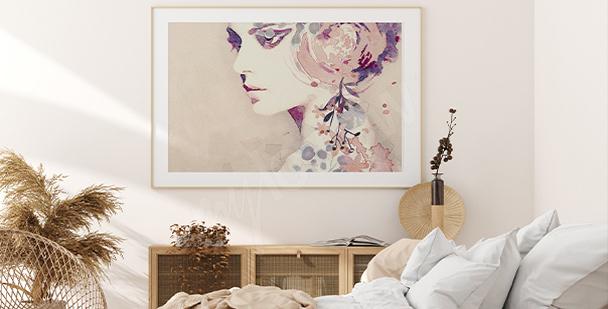 En kvinnlig affisch med delikata färger