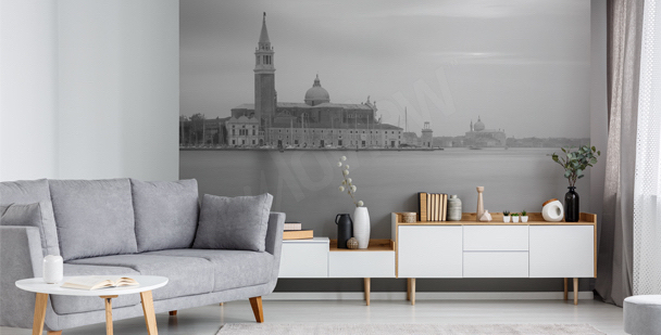 En monokrom fototapet Venedig