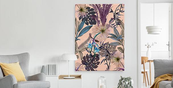 Exotisk tavla i floral stil