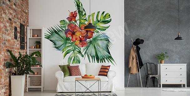 Exotiskt väggdekor med växt
