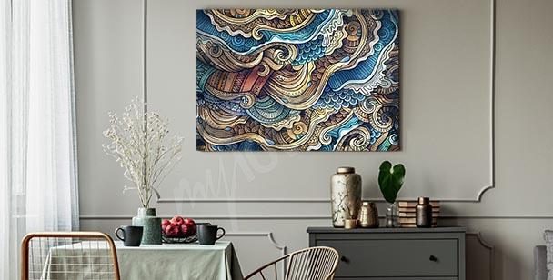 Färgglad canvastavla med dekoration