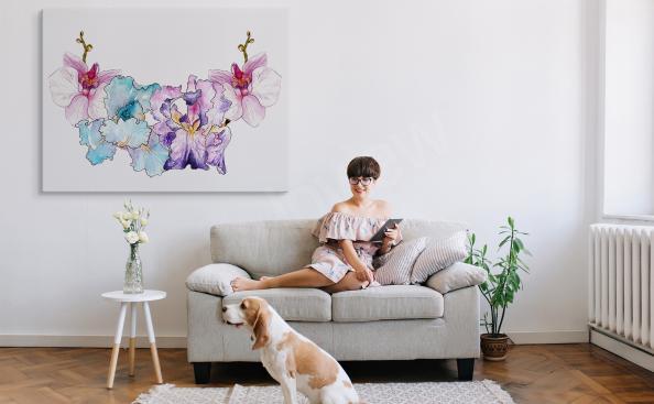 Färgglad canvastavla med orkidé