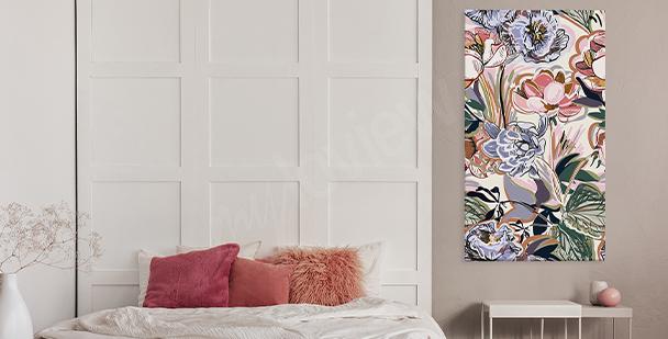 Färgglad tavla floral style