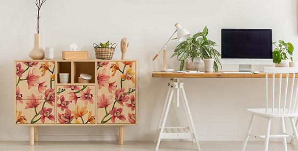 Färgglad väggdekor i blommig stil