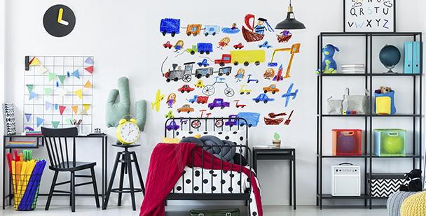 Färgglad väggdekor med transportmedel