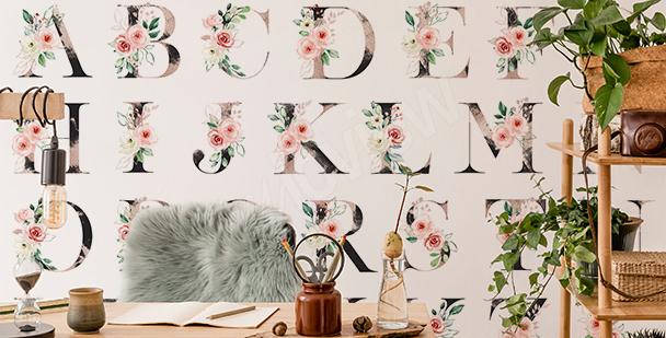 Floral fototapet med alfabetmotiv
