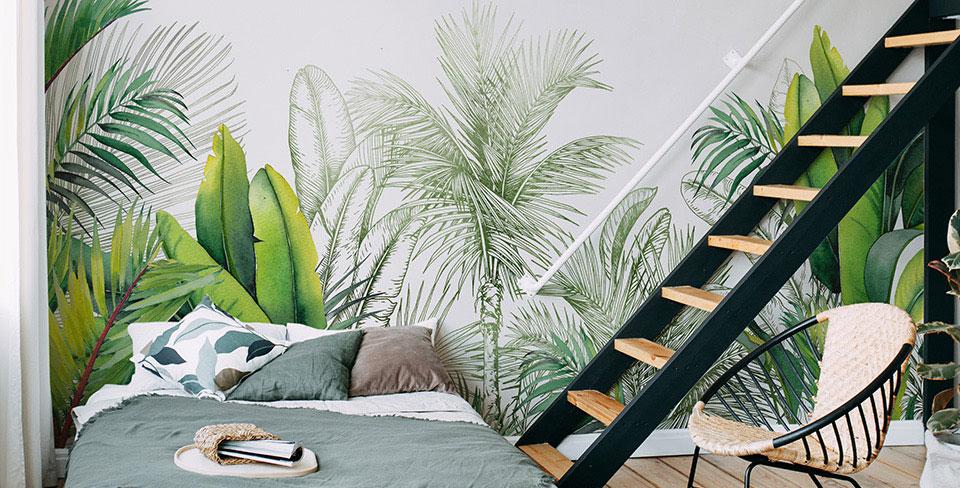 Fototapet blad och palmer