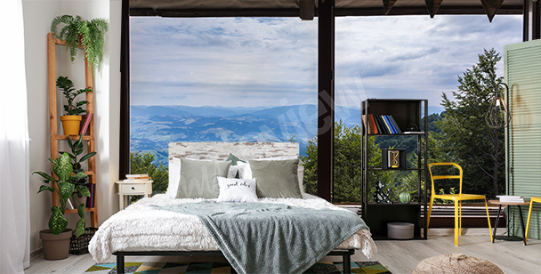 Fototapet fönster i 3D till sovrummet