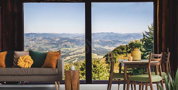 Fototapet fönster med utsikt över berg
