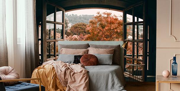 Fototapet fönster med utsikt över skogen