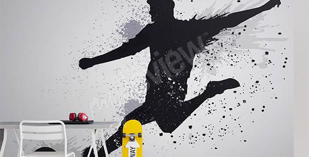 Fototapet fotbollspelarens siluett