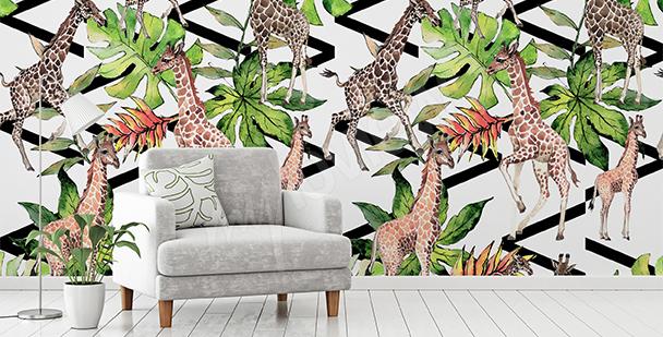 Fototapet giraffer och blad