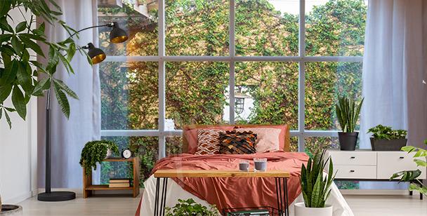 Fototapet grönska utanför fönstret