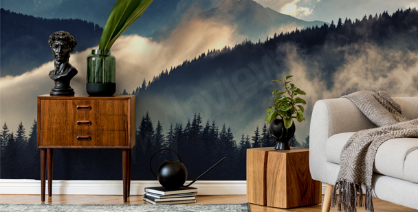 Fototapet med dimmigt landskap