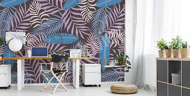 Fototapet med färgglada palmblad