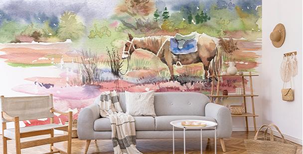 Fototapet med häst i akvarell