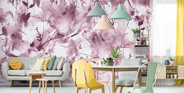 Fototapet med rosa akvarell
